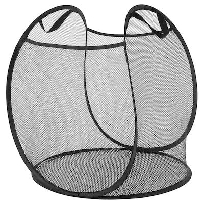 SKOGHALL Basket with handles, black, 80 l