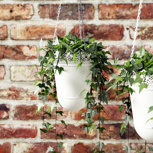 SKURAR Hanging planter, in/outdoor/off-white, 12 cm