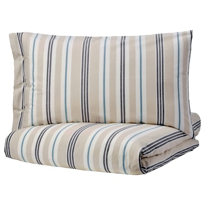 SMALSTÄKRA Duvet cover and pillowcase(s), beige/blue/striped, Twin