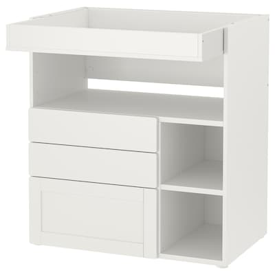 SMÅSTAD Changing table, white with frame/with 3 drawers, 90x80x100 cm