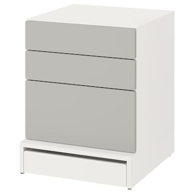 SMÅSTAD / UPPFÖRA Chest of 3 drawers, white/grey, 60x63x76 cm