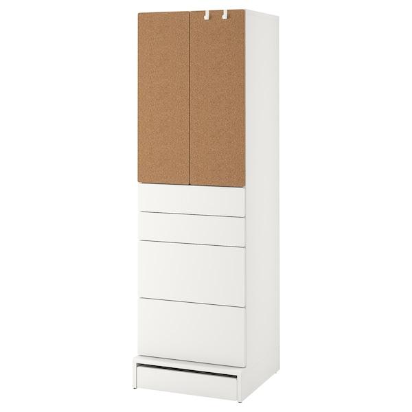 SMÅSTAD / UPPFÖRA Wardrobe, white cork/with 4 drawers, 60x63x196 cm