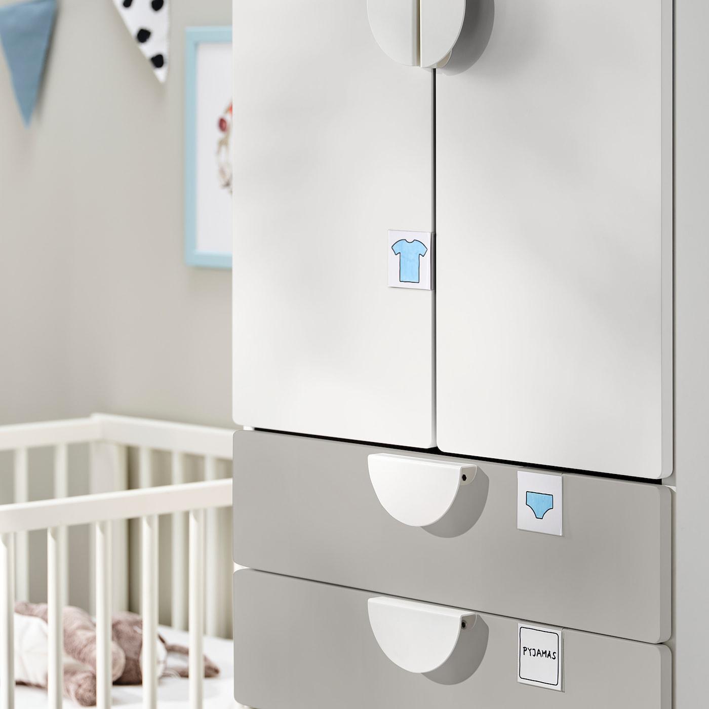 SMÅSTAD / UPPFÖRA Wardrobe, white grey/with 4 drawers, 60x63x196 cm