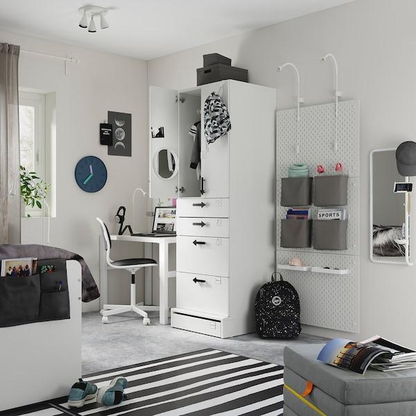 SMÅSTAD / UPPFÖRA Wardrobe, white pale pink/with 4 drawers, 60x63x196 cm