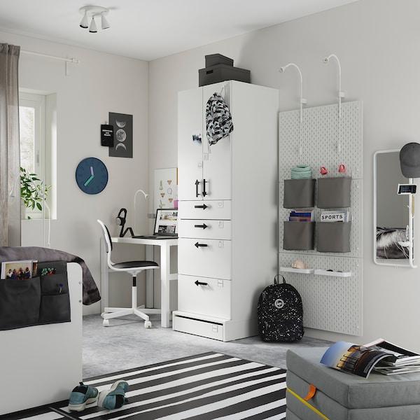 SMÅSTAD / UPPFÖRA Wardrobe, white white/with 4 drawers, 60x63x196 cm