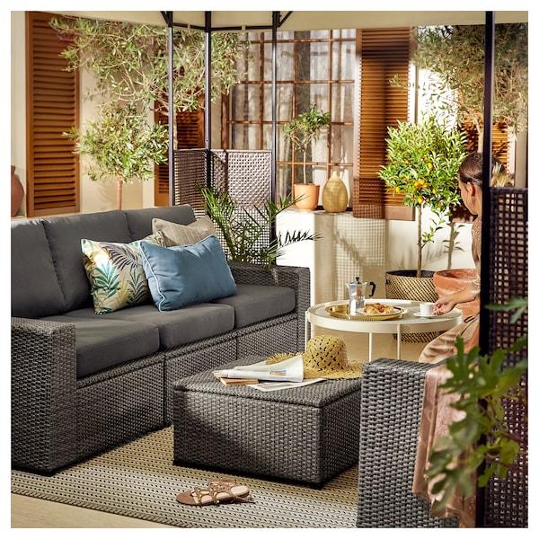 SOLLERÖN 3-seat modular sofa, outdoor, dark grey/Frösön/Duvholmen dark grey, 223x82x88 cm