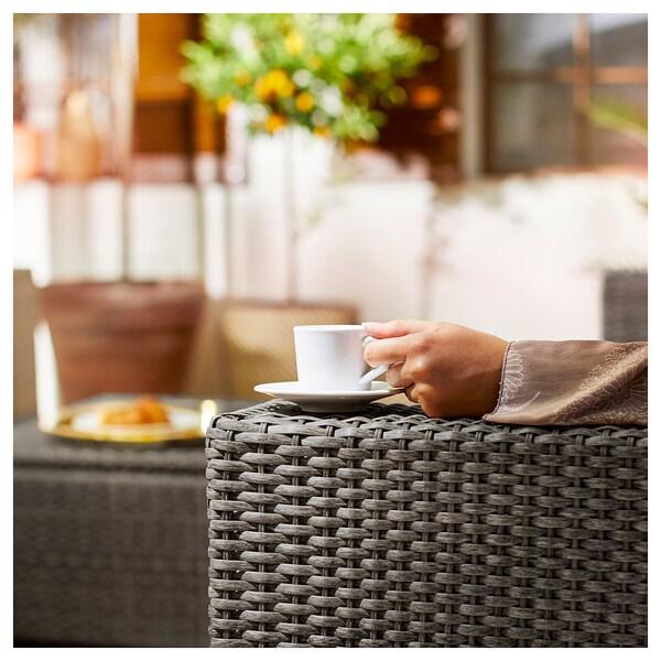 SOLLERÖN 3-seat modular sofa, outdoor, dark grey/Hållö black, 223x82x80 cm