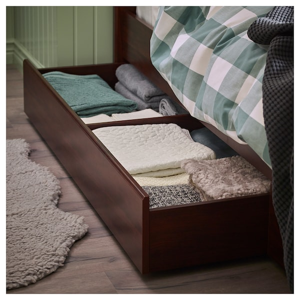 SONGESAND Bed frame with 4 storage boxes, brown, Queen