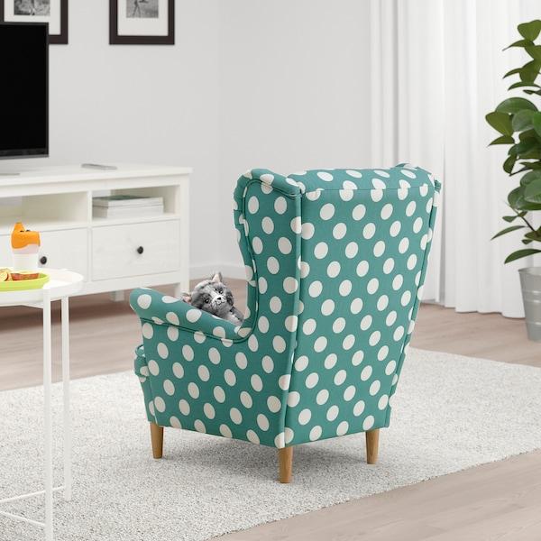 STRANDMON Children's armchair, dotted turquoise