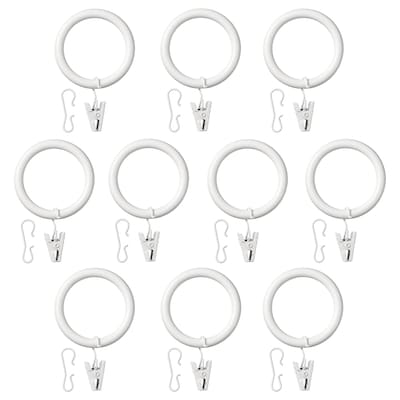 SYRLIG Curtain ring with clip and hook, white, 38 mm