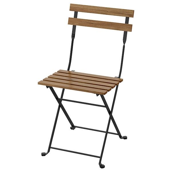 TÄRNÖ Chair, outdoor, foldable black/light brown stained