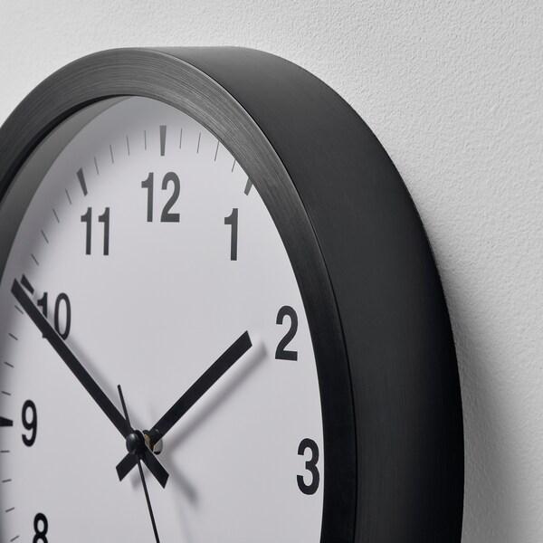TJALLA Wall clock, black, 28 cm