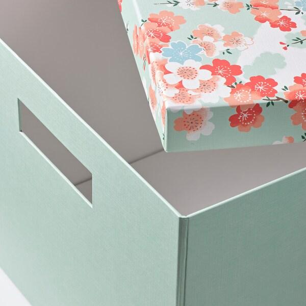 TJENA Storage box with lid, flower/light green, 25x35x20 cm