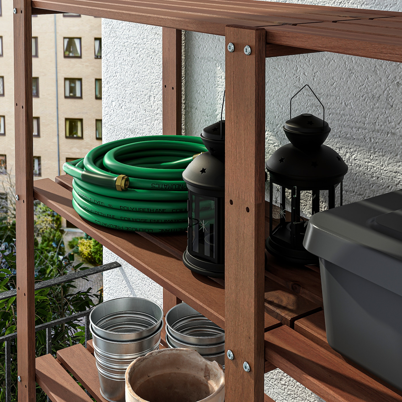 TORDH Shelving unit, outdoor - brown stained 12x12x12 cm
