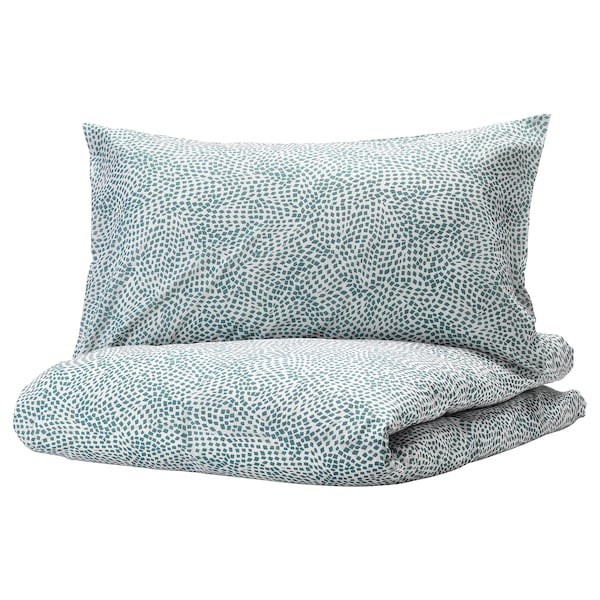 TRÄDKRASSULA Duvet cover and pillowcase(s), white/blue, Twin