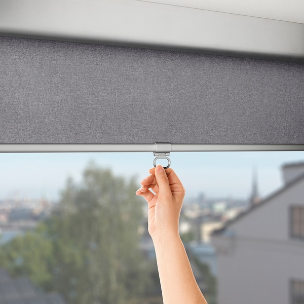 TRETUR Block-out roller blind, light grey, 86.4x195 cm
