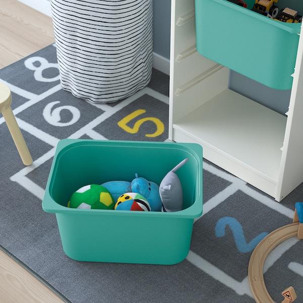 TROFAST Storage combination with boxes, white/white turquoise, 46x30x145 cm