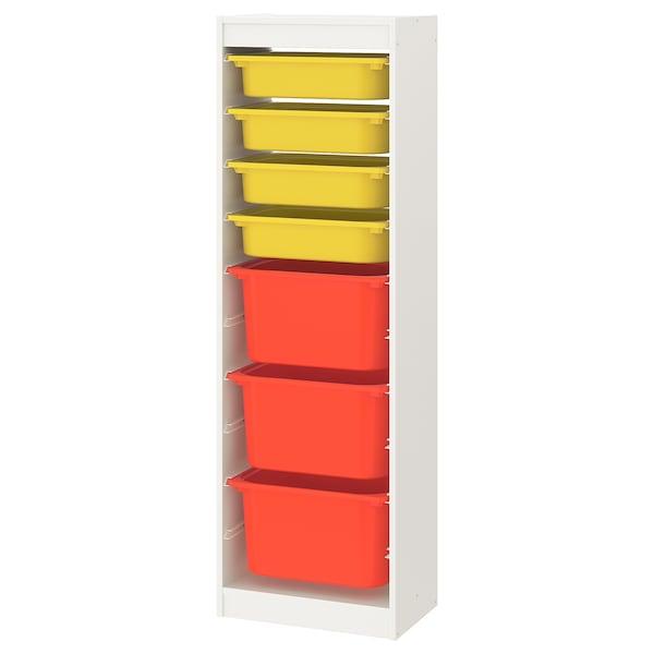 TROFAST Storage combination with boxes, white/yellow orange, 46x30x145 cm