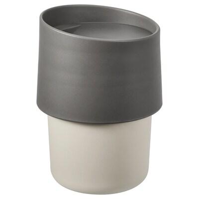 TROLIGTVIS Travel mug, beige, 0.3 l