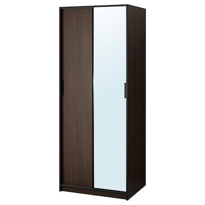 TRYSIL Wardrobe, dark brown/mirror glass, 79x61x202 cm