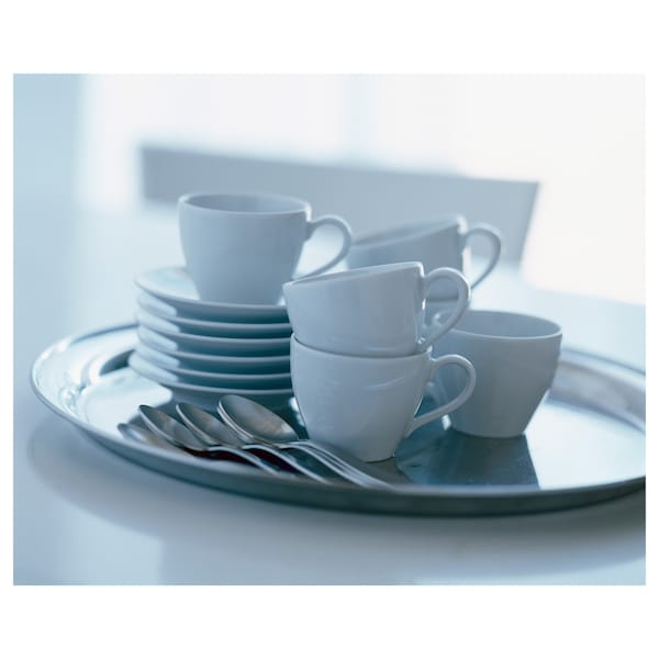 VÄRDERA Coffee cup and saucer, white, 20 cl