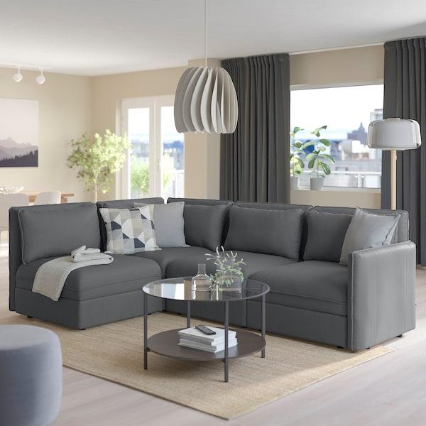 VALLENTUNA Modular corner sofa, 3-seat, with storage/Kelinge anthracite