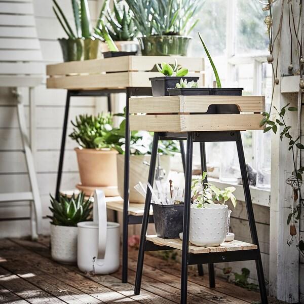 VANILJSTÅNG Plant stand, pine/black, 55 cm