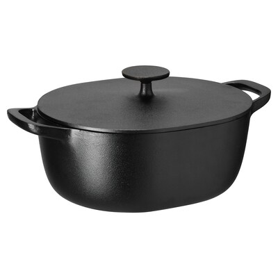 VARDAGEN Casserole with lid, cast iron, 5 l