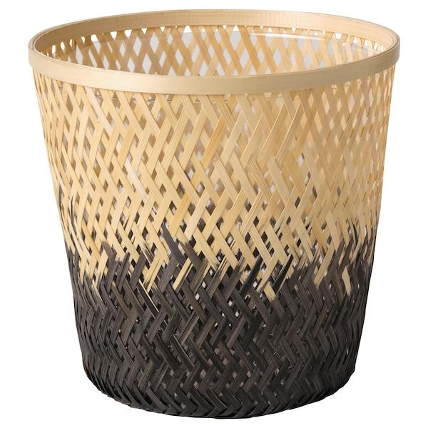 VATTENMELON Plant pot, bamboo natural/black, 19 cm