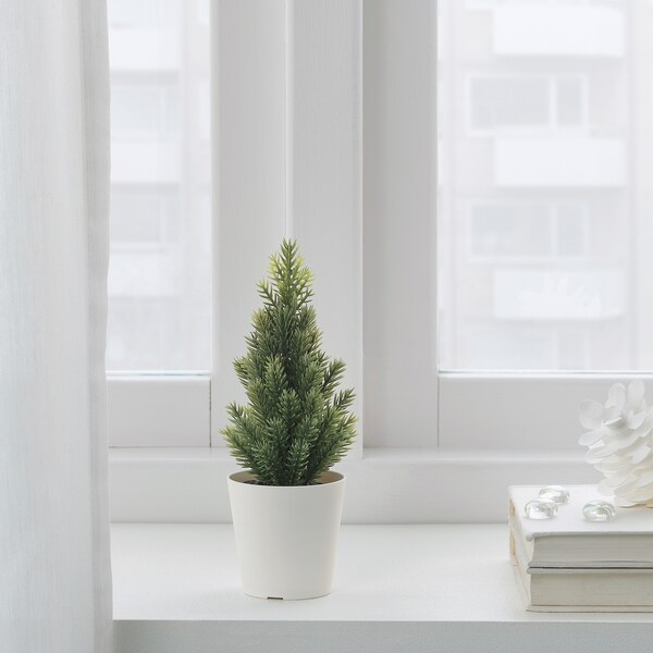 VINTER 2020 Artificial potted plant with pot, in/outdoor/Christmas tree green, 6 cm