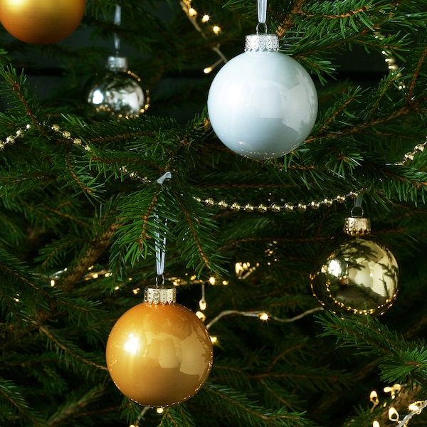VINTER 2020 Decoration, bauble, glass gold-colour/white, 6 cm