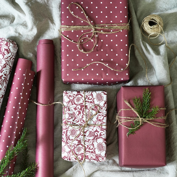 VINTER 2020 Gift wrap roll, Christmas rose pattern/dot pattern dark red, 3x0.7 m/2.10 m²x3 pack