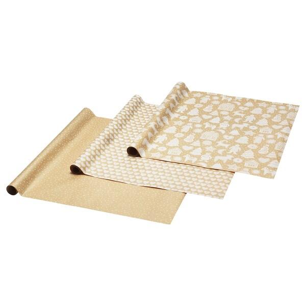 VINTER 2020 Gift wrap roll, gingerbread pattern/dot pattern brown, 3x0.7 m/2.10 m²x3 pack