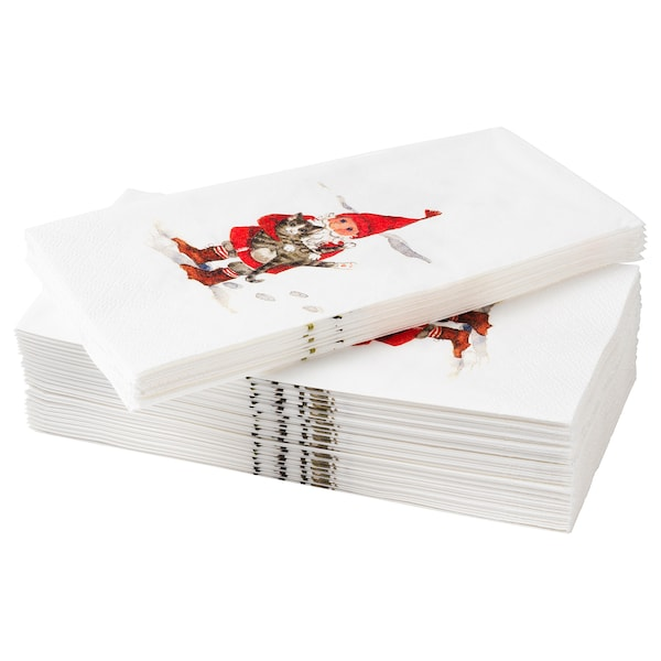 VINTER 2020 Paper napkin, Santa Claus pattern white/red, 38x38 cm