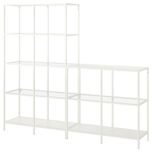 VITTSJÖ Storage combination, white/glass, 200x36x175 cm
