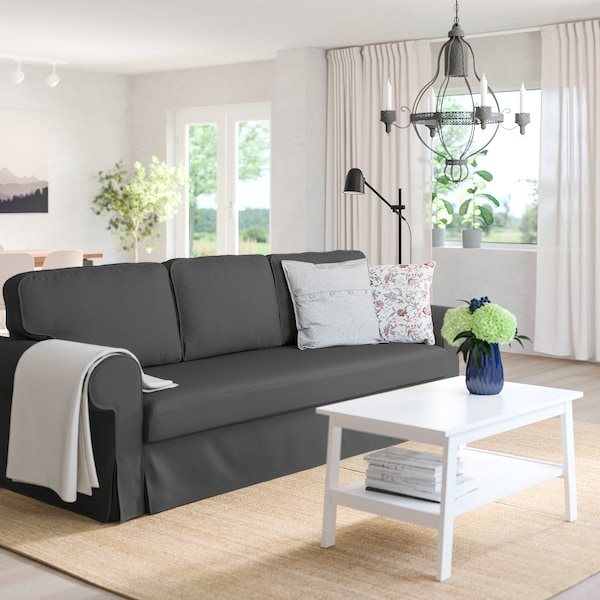 VRETSTORP 3-seat sofa-bed, Hallarp grey