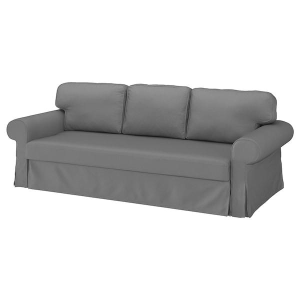 VRETSTORP 3-seat sofa-bed, Remmarn light grey