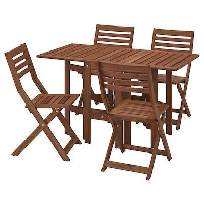 ÄPPLARÖ Mesa y 4 sillas pleables, exterior, tinte café