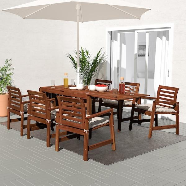 ÄPPLARÖ Mesa y 6 sillas c/repbrazos, ext, tinte café/Kuddarna gris