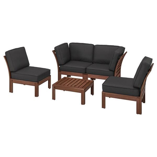 ÄPPLARÖ Sofá modular 4 asientos, ext, tinte café/Järpön/Duvholmen carbón