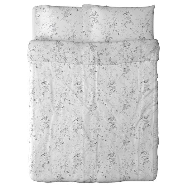 ALVINE KVIST Funda nórdica con funda de almohada, blanco/gris, Matrimonial/queen
