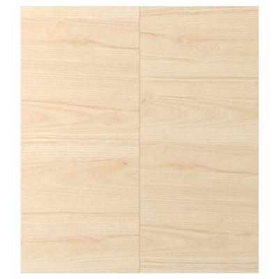 ASKERSUND Puerta de gabinete esquina, 2 pzas, efecto fresno claro, 33x76 cm