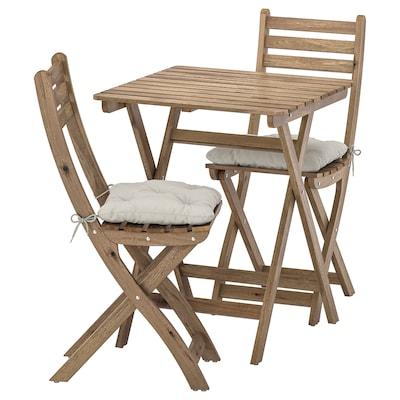 ASKHOLMEN Mesa y 2 sillas, exterior, tinte café grisáceo/Kuddarna gris