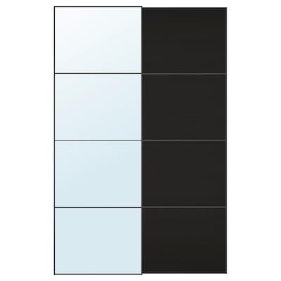AULI / MEHAMN Par de puertas corredizas, espejo/efecto fresno tinte negro-marrón, 150x236 cm
