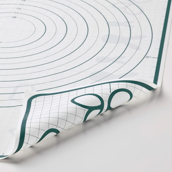 BAKTRADITION Tapete par hornear, blanco/turquesa, 61x46 cm