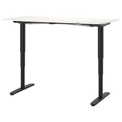BEKANT Escritorio sentado o de pie, blanco/negro, 160x80 cm