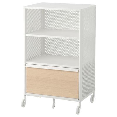 BEKANT Gabinete con cerradura inteligente, rejilla blanco, 61x101 cm