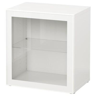 BESTÅ Estante con puerta de vidrio, blanco/Glassvik blanco/vidrio transparente, 60x42x64 cm