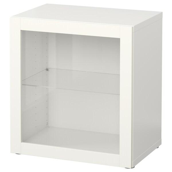BESTÅ Estante con puerta de vidrio, blanco/Sindvik vidrio transparente blanco, 60x42x64 cm