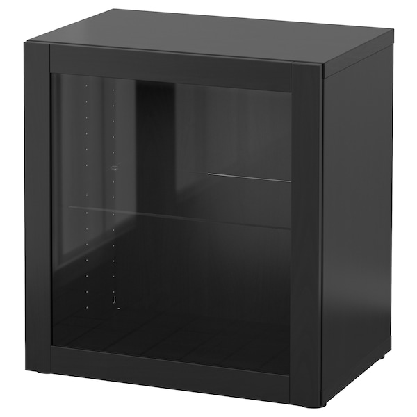 BESTÅ Estante con puerta de vidrio, negro-café/Sindvik vidrio transparente negro-café, 60x42x64 cm